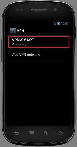 VPN turning on/off in Android. Step 3.