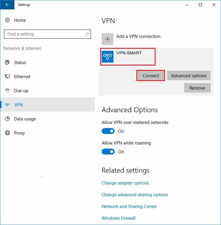 Configure VPN PPTP in Windows 10. Step 10.