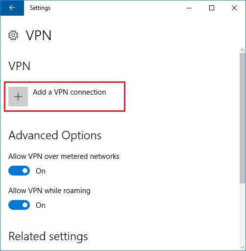 Configure VPN PPTP in Windows 10. Step 4.
