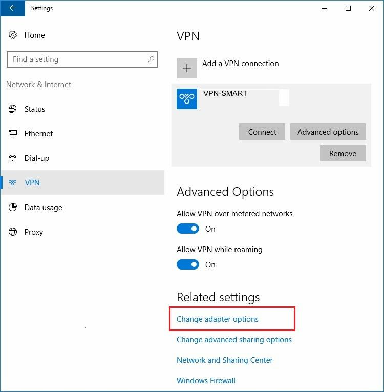 Configure VPN PPTP in Windows 10. Step 6.